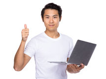 Student use of laptop and thumb up Royalty Free Stock Images