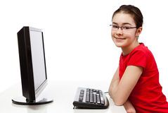 Student using computer Royalty Free Stock Photos