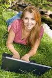 Student using computer Stock Image