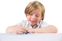 Student using crayons to draw Stock Photos