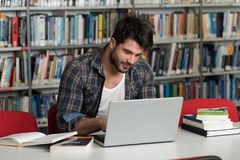 Student Using His Laptop in a Library Royalty Free Stock Image
