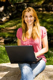 student using laptop Stock Photography
