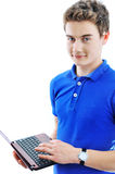 Student using laptop isolated over white background Stock Photography