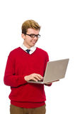 Student using laptop Royalty Free Stock Photos