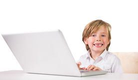 Student using a laptop pc Royalty Free Stock Photos