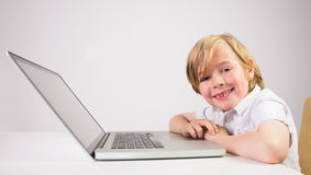 Student using a laptop pc Stock Images