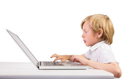 Student using a laptop pc Royalty Free Stock Image