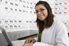 Student Using Laptop In Science Class Stock Photography