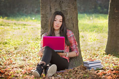 Student using laptop to learning Royalty Free Stock Photo