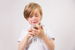 Student using a mobile phone Stock Photo