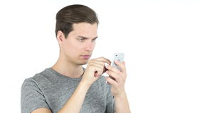 Student Using Smartphone on White Background. Online Browsing stock video footage