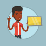 Student using tablet computer vector illustration. Student using a tablet for education. Student holding tablet computer and pointing finger up. Concept of Royalty Free Stock Images
