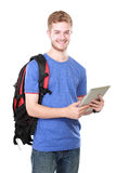 Student using tablet pc isolated on white background Stock Photos