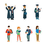 Student vector icon set. Graduate students mantle. Student life creative vector icon set. Young college students graduate man in mantle with diploma certificate Royalty Free Stock Image