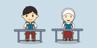Muslim student reading book on desk vector illustration royalty free illustration