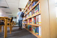 Student walking away in the library. At the university Royalty Free Stock Images