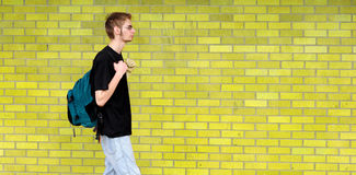 Student walking besides brick wall. A tall white Caucasian young adult teenage male walks in front of a brick wall. Lots of room for your copyspace text. He has Stock Photo