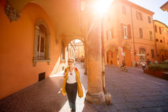 Student walking in Bologna Royalty Free Stock Images