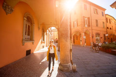 Student walking in Bologna Royalty Free Stock Photography