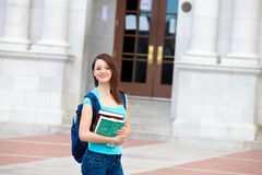 Student walking on campus Stock Image