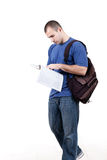 Student walking to school and studying Royalty Free Stock Photography