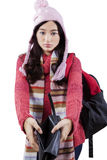 Student in warm clothes showing empty wallet Royalty Free Stock Photography