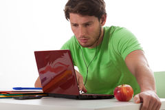 Student watching movie during classes Stock Photos