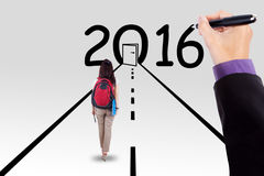 Student on the way with numbers 2016 Stock Image