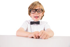 Student wearing glasses and bow tie Stock Image