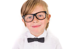Student wearing glasses and bow tie Stock Images