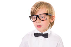 Student wearing glasses and bow tie Royalty Free Stock Image