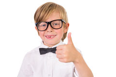 Student wearing glasses and bow tie Royalty Free Stock Photos