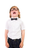 Student wearing glasses and bow tie Stock Photo