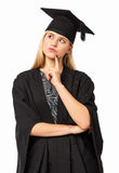Student Wearing Graduation Gown och mortelbräde Royaltyfria Foton