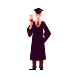 Student wearing traditional graduation gown and cap, holding diploma Royalty Free Stock Photos