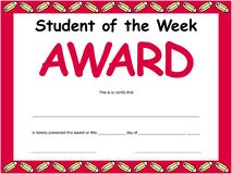 Student Of The Week Certificate. A student of the week certificate with a pencil boarder stock illustration
