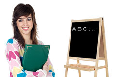 Student whit slate Stock Photo