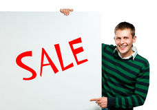 Student with a white banner Royalty Free Stock Image
