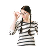 Student in white glasses Royalty Free Stock Photo