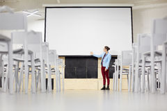 Student by whiteboard Stock Image