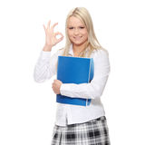 Student woman. With note pad, isolated on white background Stock Photography