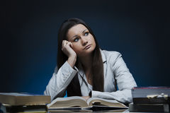 Student woman thinking Royalty Free Stock Photos