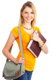 Student woman. Young smiling  student woman. Over white background Royalty Free Stock Images