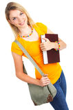 Student woman. Young smiling  student woman. Over white background Royalty Free Stock Photos