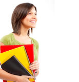 Student woman. Young smiling  student woman. Over white background Royalty Free Stock Image