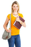 Student woman. Young smiling  student woman. Over white background Royalty Free Stock Photography