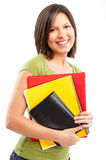 Student woman. Young smiling  student woman. Over white background Stock Photo