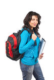 Student woman with backpack. Young student woman with a black backpack on white background Stock Image