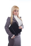 A student woman with black folder Stock Photography