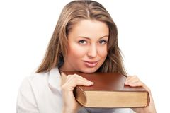 Student woman with book Royalty Free Stock Photos